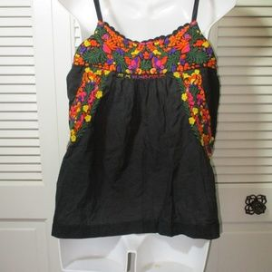Lucky Brand Tops - Lucky Brand Black Stitched Flowers Cami M